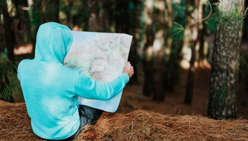 person looking at a map while sitting in a forest. Are you lost in the wilderness? God can help you escape if you let Him.