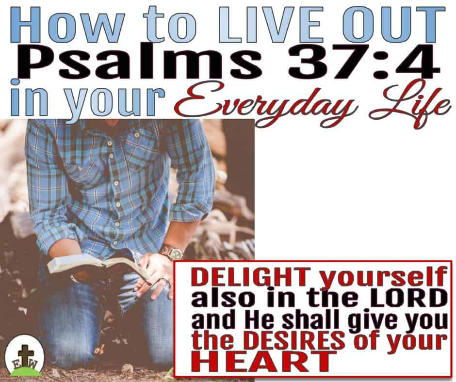 Man in denim and blue plaid shirt kneeling on the ground reading his Bible