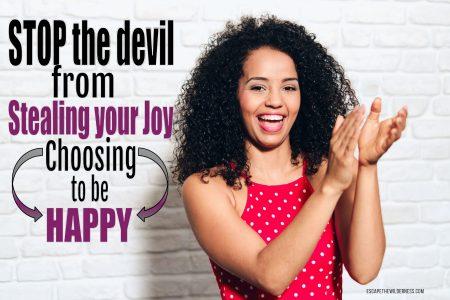 Joyful woman not allowing the devil to steal her joy.