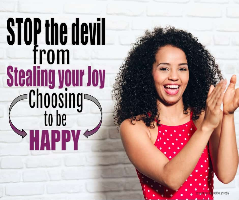 Joyful woman not allowing the devil to steal her joy.