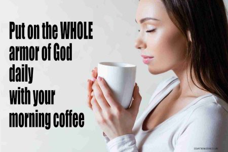 Woman with her eyes closed drinking a cup of coffee and praying